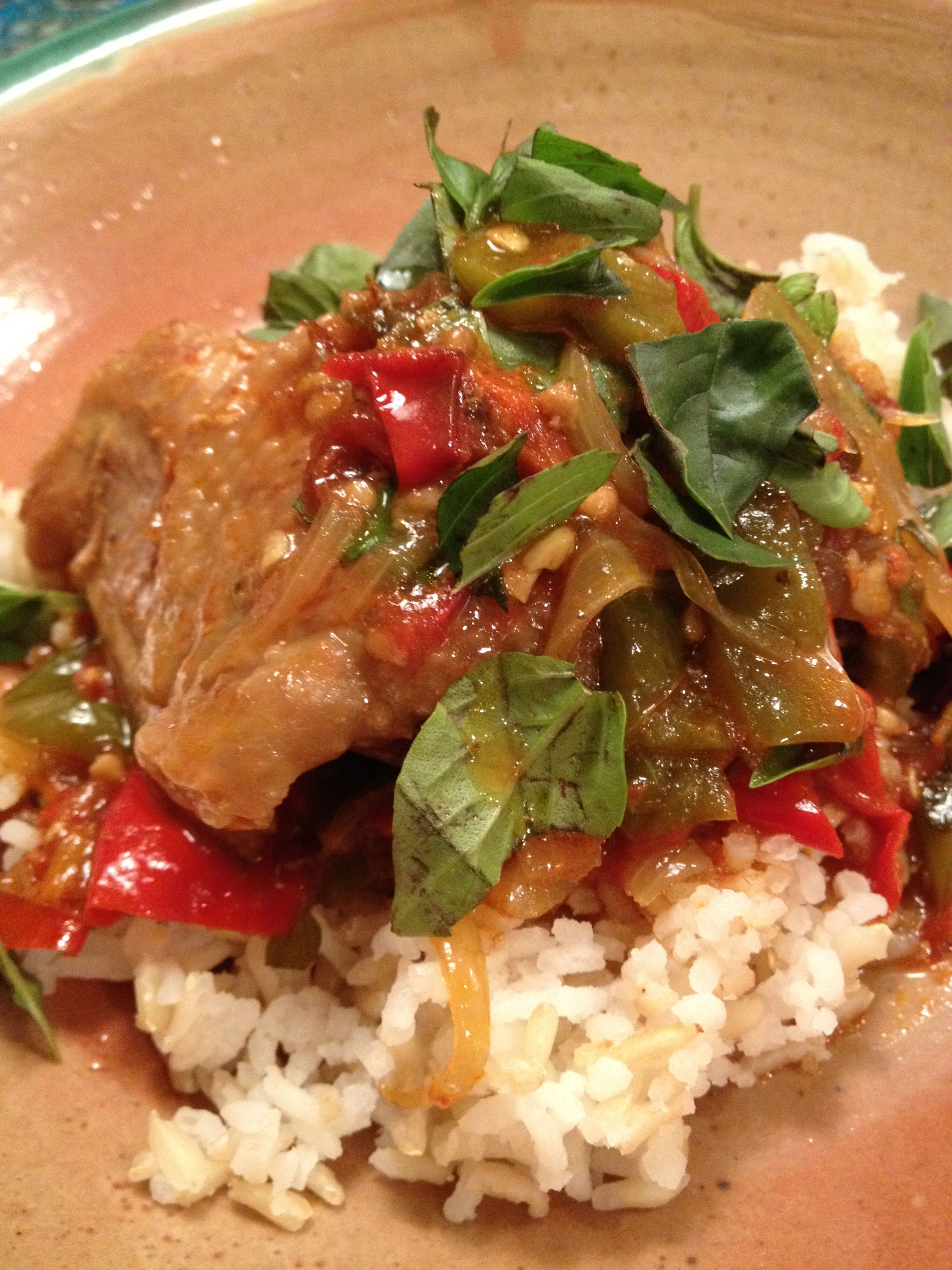 To me chicken basquaise served over rice is a colorful version of the ...